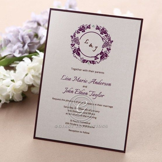 Grapevine designed violet bordered digital printed flat layered wedding card