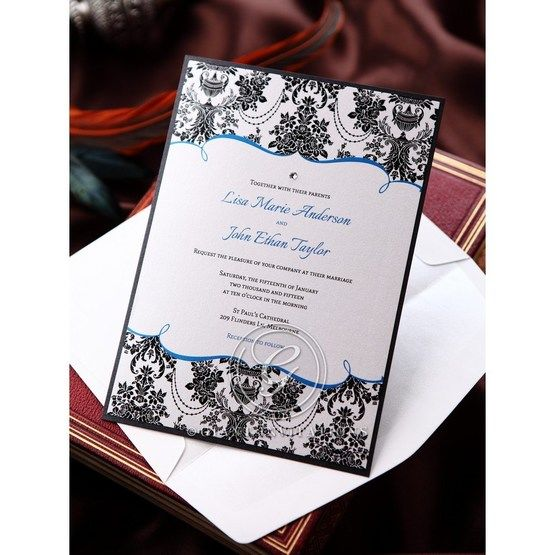 Black Patterned Grandeur - Bridal Shower Invitations - 65