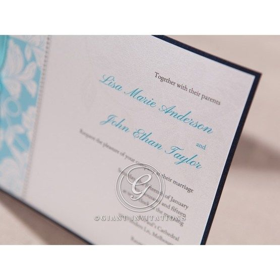 Digital printed invite text , black border , blue names , closeup, cropped