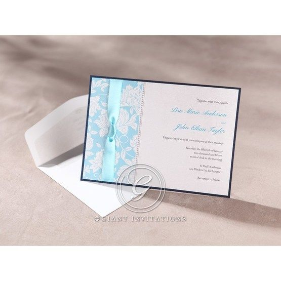 Black bordered digital printed blue ribboned floral designed flat layered card with envelope