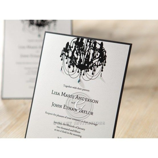Black Victorian Chandelier - Bridal Shower Invitations - 62