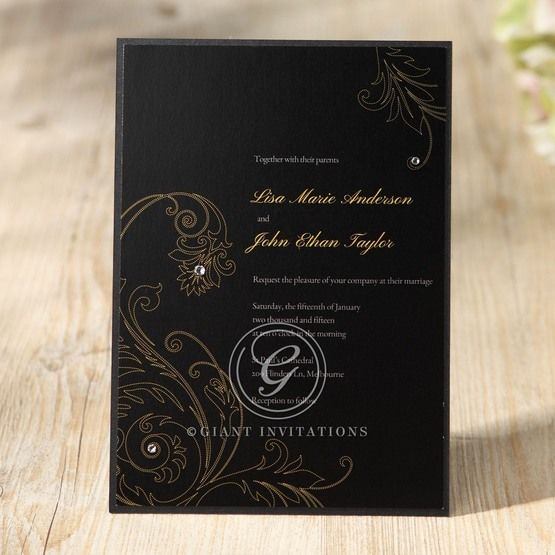Black Urban Chic with Gold Swirls - Bridal Shower Invitations - 10