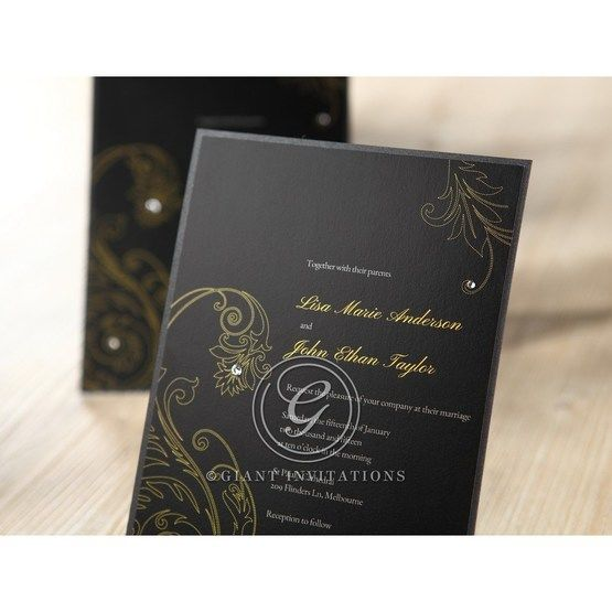 Black Urban Chic with Gold Swirls - Anniversary Cards - 77