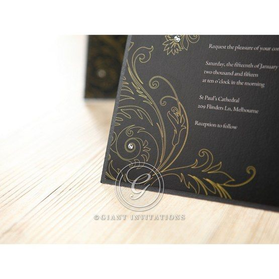 Black Urban Chic with Gold Swirls - Bridal Shower Invitations - 16