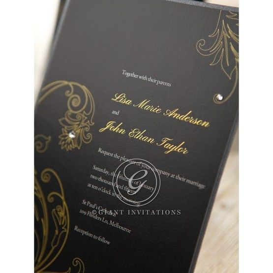Black Urban Chic with Gold Swirls - Anniversary Cards - 74