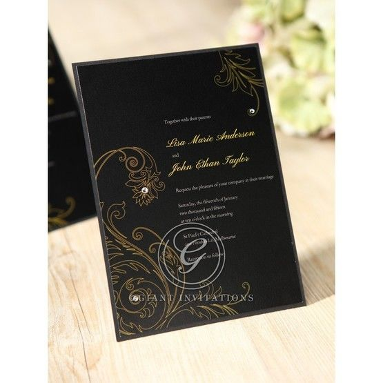 Black Urban Chic with Gold Swirls - Anniversary Cards - 67