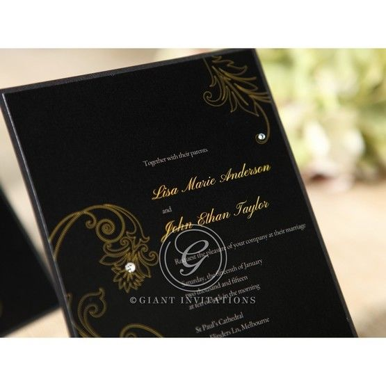 Black Urban Chic with Gold Swirls - Bridal Shower Invitations - 15