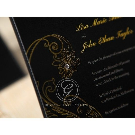 Black Urban Chic with Gold Swirls - Bridal Shower Invitations - 14