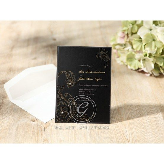 Black Urban Chic with Gold Swirls - Anniversary Cards - 73