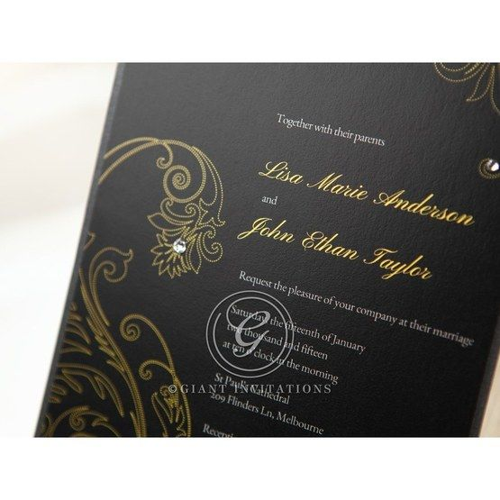 Black Urban Chic with Gold Swirls - Bridal Shower Invitations - 19