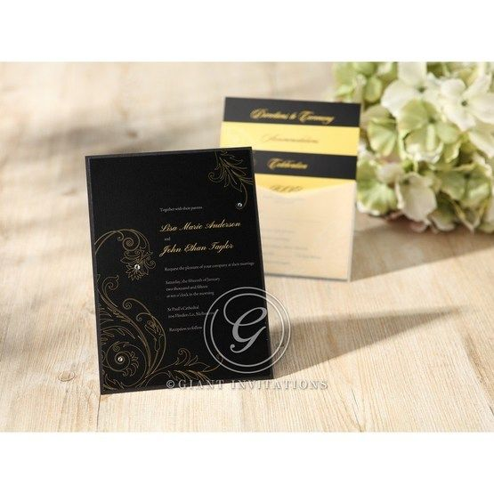 Black Urban Chic with Gold Swirls - Bridal Shower Invitations - 12