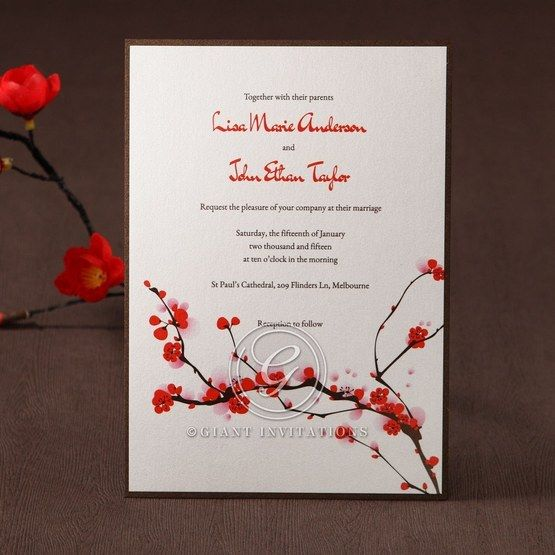 Digital printed branches, red flower card, flat layered wedding invite