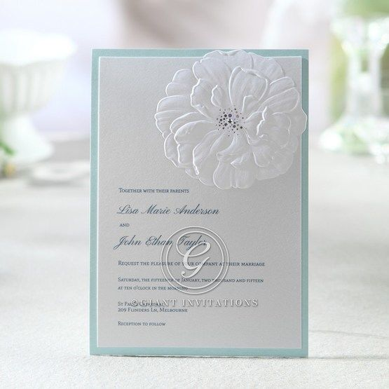 Laser sculpted flower, white embossed card with foil stamped pollen design, light blue backing layer, thermography printing