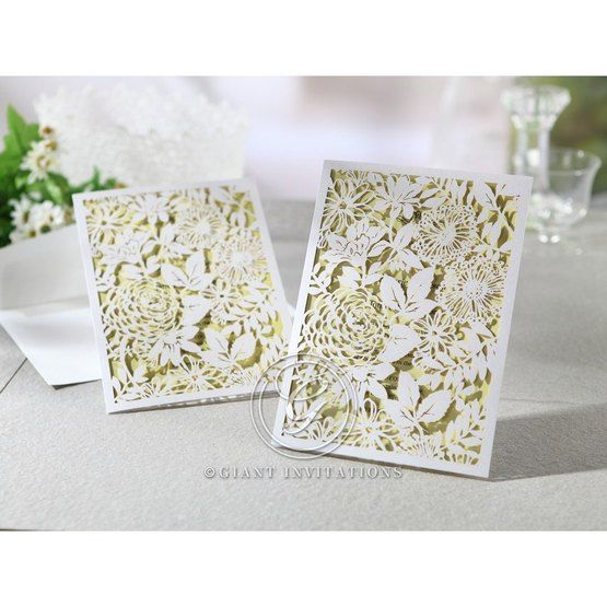 Laser cut wedding invitations, garden design with envelope