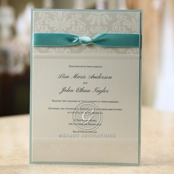 Ribboned layered invitation, blue backing card with ribbon and floral silk screening design, thermography print