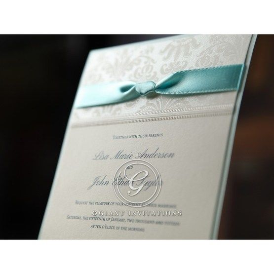 Blue and white wedding invitation, pearl paper wrapped in satin silk band