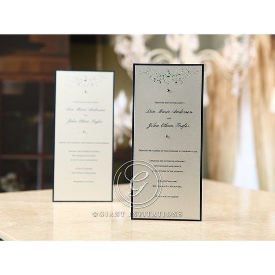 Full view of the black layered type card designed with two crystals and foil stamped patterns