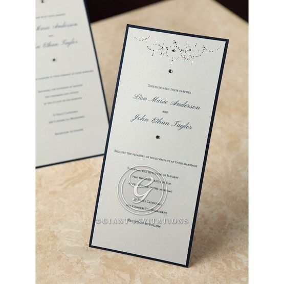 Gemmed wedding invitation with black backing frame and ash grey invitation card