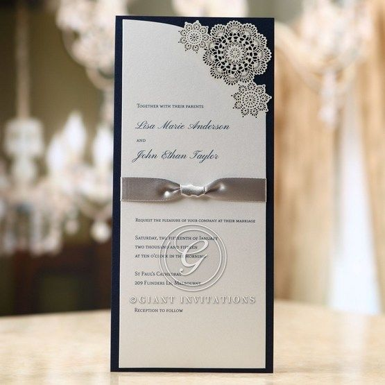 Rectangular flat layered invitation, raised ink printing, laser cut floral pattern, black backing paper, satin ribbon