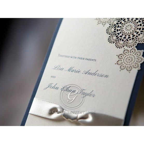 Blue Laser Cut Floral Conture - Anniversary Cards - 30