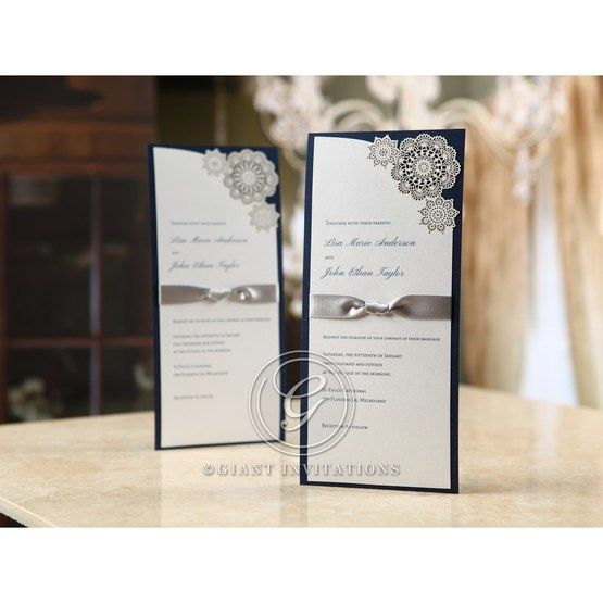 Rectangular, slim wedding invitation with lace flower accent, laser cut type