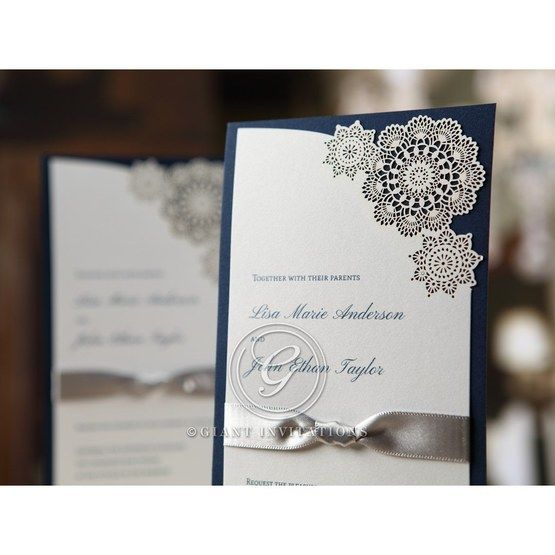 vintage laser cut flower designed layered wedding invitation, dark blue backing card