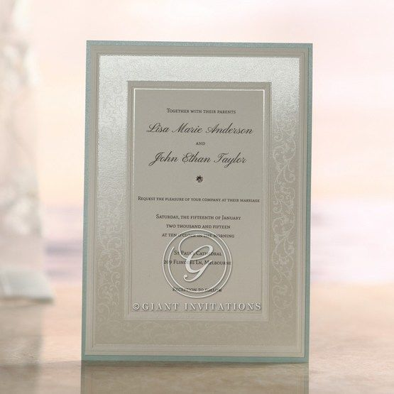 Silk screened design, white, framed, light blue border, jeweled flat card, layered wedding ivitation