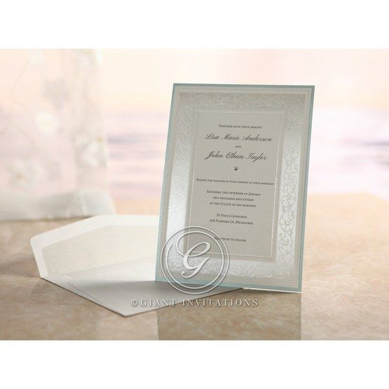 Hand assembled floral design light blue bordered frame with envelope bridal card