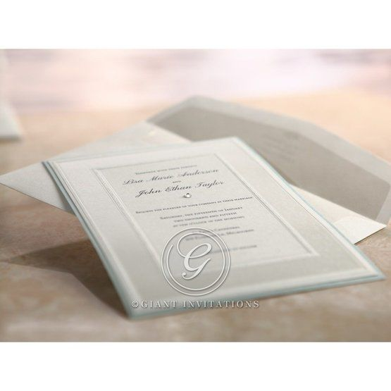 White framed and blue bordered flat layered wedding stationery