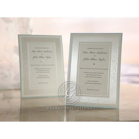 Light blue bordered embossed floral designed white frame flat layer card