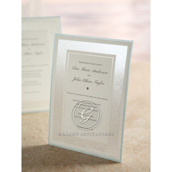 Thermography printed, shimmer border card with embossed design, light blue frame invite