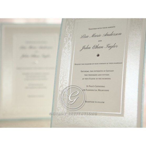 Embossed floral design frame with hand assembled detail , white inner card invite ,cropped