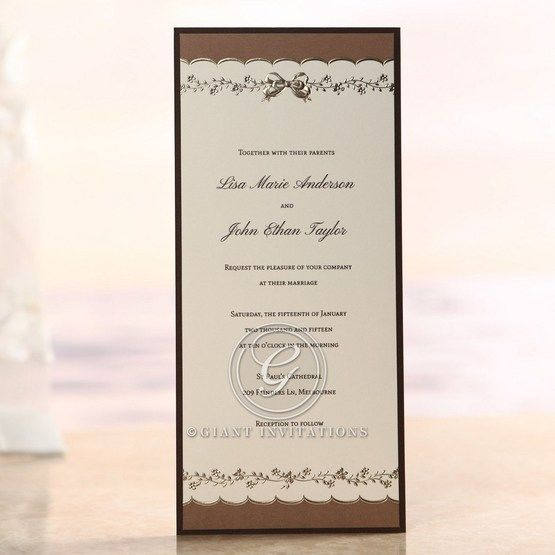 Brown Shimmering Gold Floral Chains - Engagement Invitations - 14