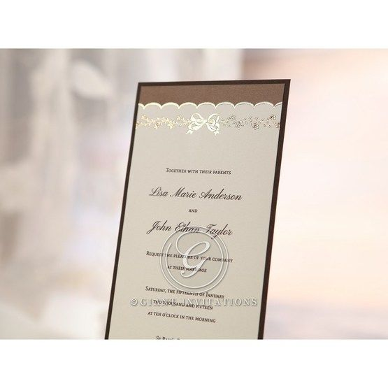 Brown Shimmering Gold Floral Chains - Engagement Invitations - 17