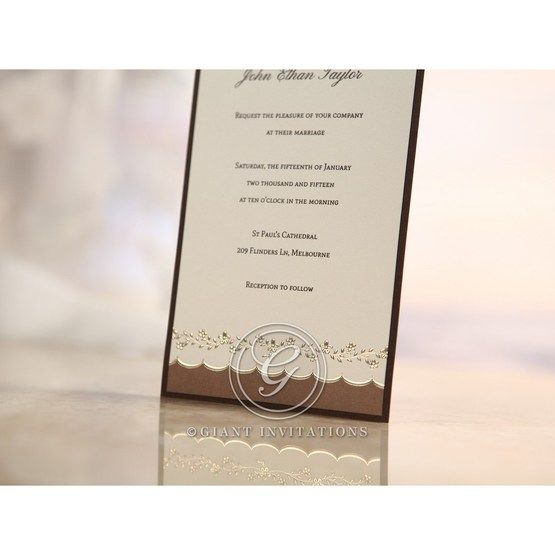 Brown Shimmering Gold Floral Chains - Engagement Invitations - 16