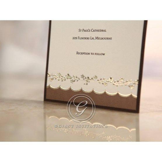 Brown Shimmering Gold Floral Chains - Engagement Invitations - 21