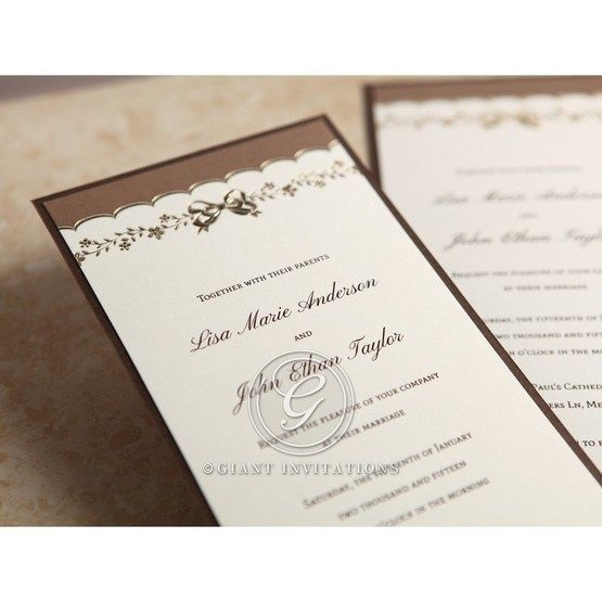 Brown Shimmering Gold Floral Chains - Engagement Invitations - 22
