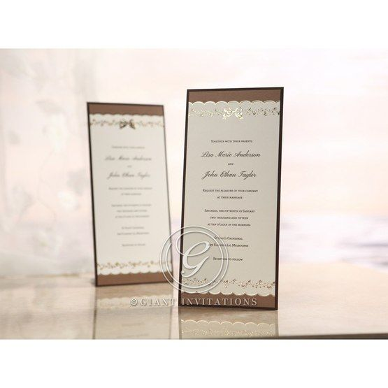 Brown Shimmering Gold Floral Chains - Engagement Invitations - 19