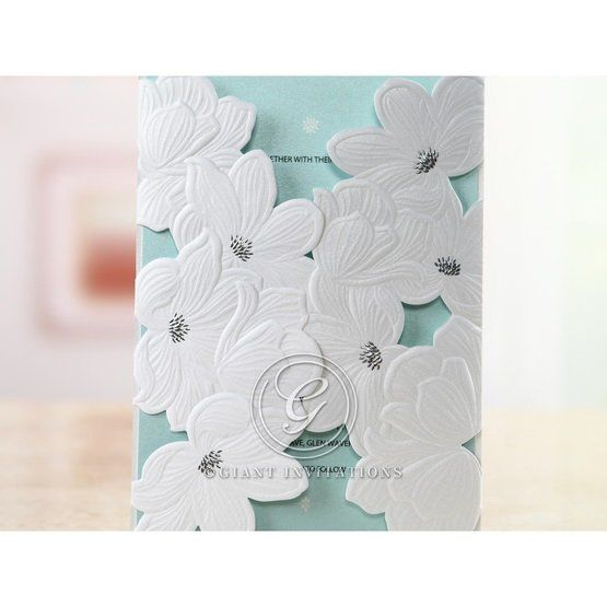 Blue Laser Cut Flower Wrap - Anniversary Cards - 19