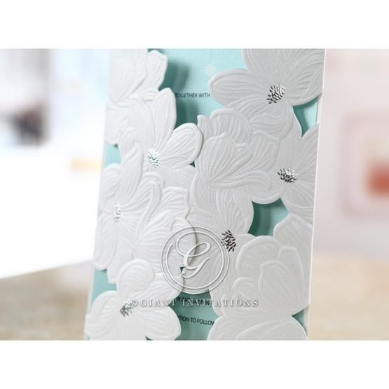 Blue Laser Cut Flower Wrap - Wedding invitation - 51