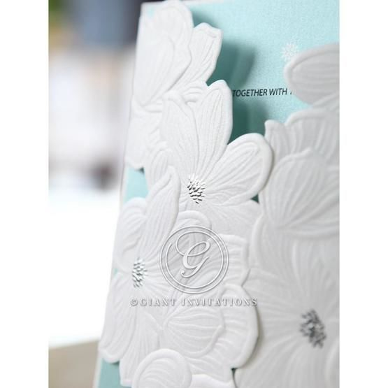 Blue Laser Cut Flower Wrap - Wedding invitation - 59