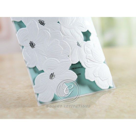 Blue Laser Cut Flower Wrap - Wedding invitation - 58