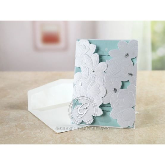 Blue Laser Cut Flower Wrap - Wedding invitation - 52