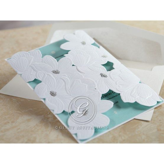 Blue Laser Cut Flower Wrap - Wedding invitation - 55