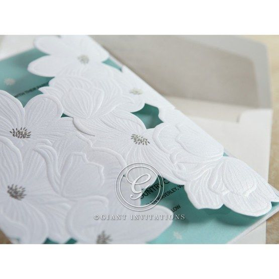 Blue Laser Cut Flower Wrap - Wedding invitation - 49