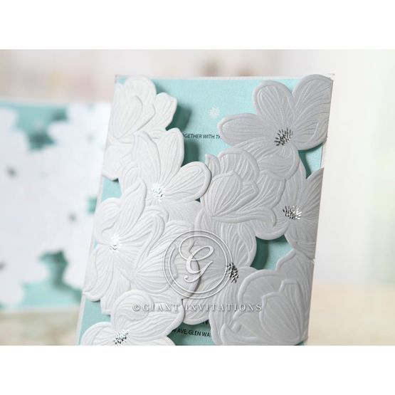 Blue Laser Cut Flower Wrap - Anniversary Cards - 26