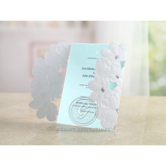 Blue Laser Cut Flower Wrap - Wedding invitation - 54