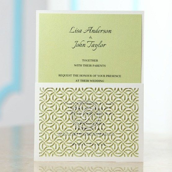Contemporary laser die cut pocket invite with green insert, thermpgraphy printed