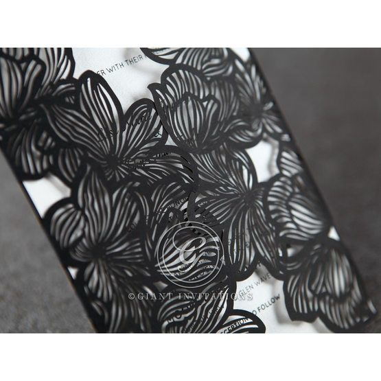 Black floral laser cut detail closeup