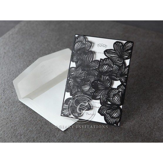 Black floral gatefol laser cut, white inner paper with envelope